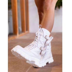 White Combat Boots
